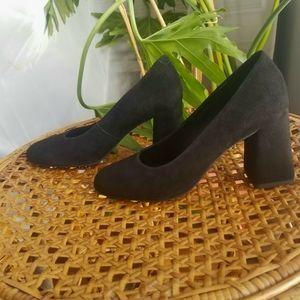 Geox Respira Calinda Suede Block Chunky Heels Pump